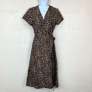 H&M 6 Midi Wrap Shirt Dress Small Animal Print